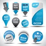 Contrassegni di vendita e di offerta speciale, icone ed autoadesivi Immagine Stock Libera da Diritti