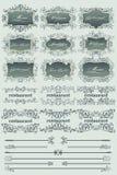 Contrassegni e divisori blu del ristorante dell'annata Immagine Stock