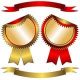 Contrassegni e nastri dorato-rossi stabiliti (vettore) Illustrazione di Stock