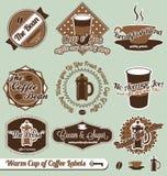 Contrassegni ed autoadesivi della caffetteria Immagine Stock
