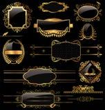 Contrassegni eleganti del nero e dell'oro Fotografia Stock