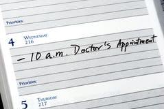Contrassegni l'appuntamento del medico Fotografia Stock