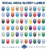 Contrassegni lucidi di media sociali Immagini Stock