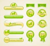 Contrassegni per il prodotto ecologico, organico e naturale Fotografie Stock
