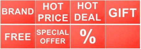 Contrassegni per vendita al dettaglio Fotografie Stock Libere da Diritti