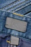 Contrassegni scuri del cotone sui jeans Fotografia Stock Libera da Diritti
