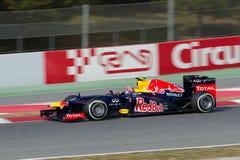 Contrassegni Webber (AUS) Red Bull che corre RB8 Fotografia Stock