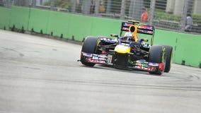 Contrassegni Webber che corre in F1 Singapore grande Prix Fotografia Stock Libera da Diritti