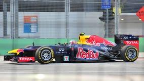Contrassegni Webber che corre in F1 Singapore grande Prix Fotografia Stock
