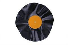 Contrassegno arancione deformato del record di vinile Fotografia Stock Libera da Diritti