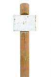 Contrassegno arrugginito del bordo del segno del metallo, posta di legno del palo del cartello Fotografie Stock