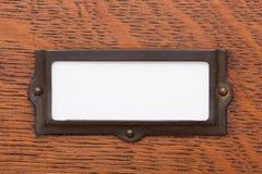 Contrassegno in bianco del cassetto di archivio Fotografia Stock