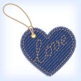 Contrassegno del biglietto di S. Valentino del cuore dei jeans Immagini Stock Libere da Diritti