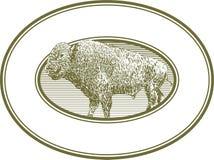 Contrassegno del bisonte dell'intaglio in legno Immagini Stock Libere da Diritti