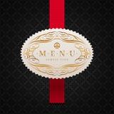 Contrassegno del menu con l'ornamento calligrafico Fotografia Stock Libera da Diritti