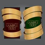 Contrassegno del vino con un nastro dell'oro. Illustrazione di vettore Fotografie Stock