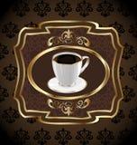 Contrassegno dell'annata per caffè d'imballaggio, tazza di caffè Fotografia Stock