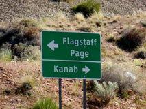 Contrassegno della pagina dell'albero per bandiera e della strada di Kanab fotografia stock