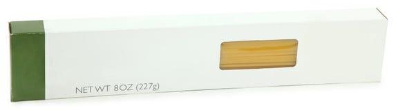 Contrassegno dello spazio in bianco del contenitore di pasta degli spaghetti fotografie stock