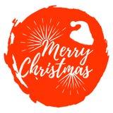 Contrassegno di Buon Natale Fonte con la spazzola Distintivi di natale Illu di vettore royalty illustrazione gratis