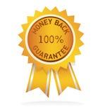 Contrassegno di garanzia della parte posteriore dei soldi Fotografia Stock