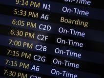 Contrassegno di imbarco dell'aeroporto Fotografia Stock