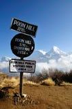 Contrassegno di informazioni di Poon Hills con Annapurna Mountain View come fondo Immagine Stock