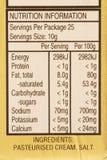 Contrassegno di informazioni nutrizionali Fotografia Stock