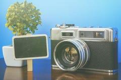 contrassegno di legno, pianta verde e macchina fotografica dell'annata sulla tavola di legno con fondo blu Fotografia Stock