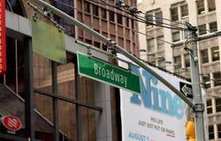 Contrassegno di New York Broadway Immagine Stock Libera da Diritti