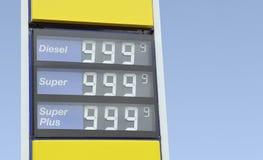 Contrassegno di prezzi della benzina Fotografia Stock Libera da Diritti