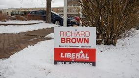 Contrassegno di Richard Brown, PEI Liberal Party per l'elezione provinciale 2019 fotografia stock libera da diritti