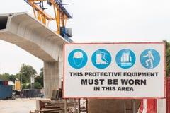 Contrassegno di sicurezza del cantiere Fotografia Stock Libera da Diritti