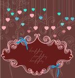 Contrassegno floreale per la festa del biglietto di S. Valentino, colore scuro Fotografie Stock Libere da Diritti