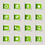 Contrassegno - icone ecologiche Fotografia Stock