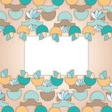 Contrassegno per la cartolina d'auguri con le figure floreali su beig Fotografie Stock Libere da Diritti