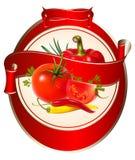 Contrassegno per un prodotto (ketchup, salsa) con il photorea illustrazione di stock