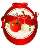 Contrassegno per un prodotto (ketchup, salsa) con il photorea illustrazione vettoriale