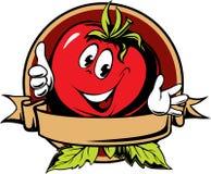Contrassegno rotondo del fumetto del pomodoro illustrazione di stock