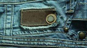 Contrassegno sui jeans Fotografia Stock Libera da Diritti
