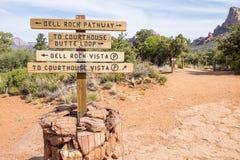 Contrassegno sulle tracce di escursione nel deserto Immagine Stock