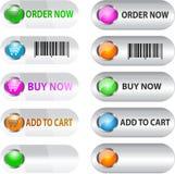Contrassegno/tasto impostato per il commercio elettronico Fotografie Stock Libere da Diritti