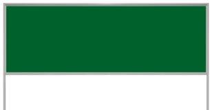 Contrassegno verde del tabellone per le affissioni del bordo del segno dell'annuncio del metallo, spazio vuoto in bianco isolato  Fotografie Stock Libere da Diritti