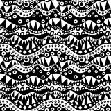 Contrast Aboriginal Seamless Pattern. Repeatable ethnic geometric ornament in black and white. Abstract background tribal texture. (Vector file is EPS8 Stock Illustration