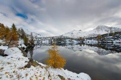 Contrast autumn winter alpine lake Royalty Free Stock Photos