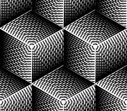 Contrast black and white symmetric seamless pattern with interwe Royalty Free Stock Photo