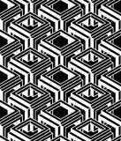 Contrast black and white symmetric seamless pattern with interwe Stock Image