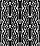 Contrast black and white symmetric seamless pattern with interwe Royalty Free Stock Images