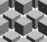 Contrast black and white symmetric seamless pattern with interwe. Ave figures. Continuous geometric composition, for use in graphic design Stock Photos