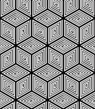 Contrast black and white symmetric seamless pattern with interwe Royalty Free Stock Photography